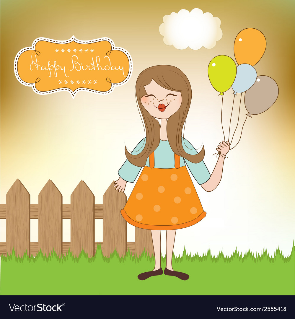 Funny girl with balloon birthday greeting card vector | Price: 1 Credit (USD $1)