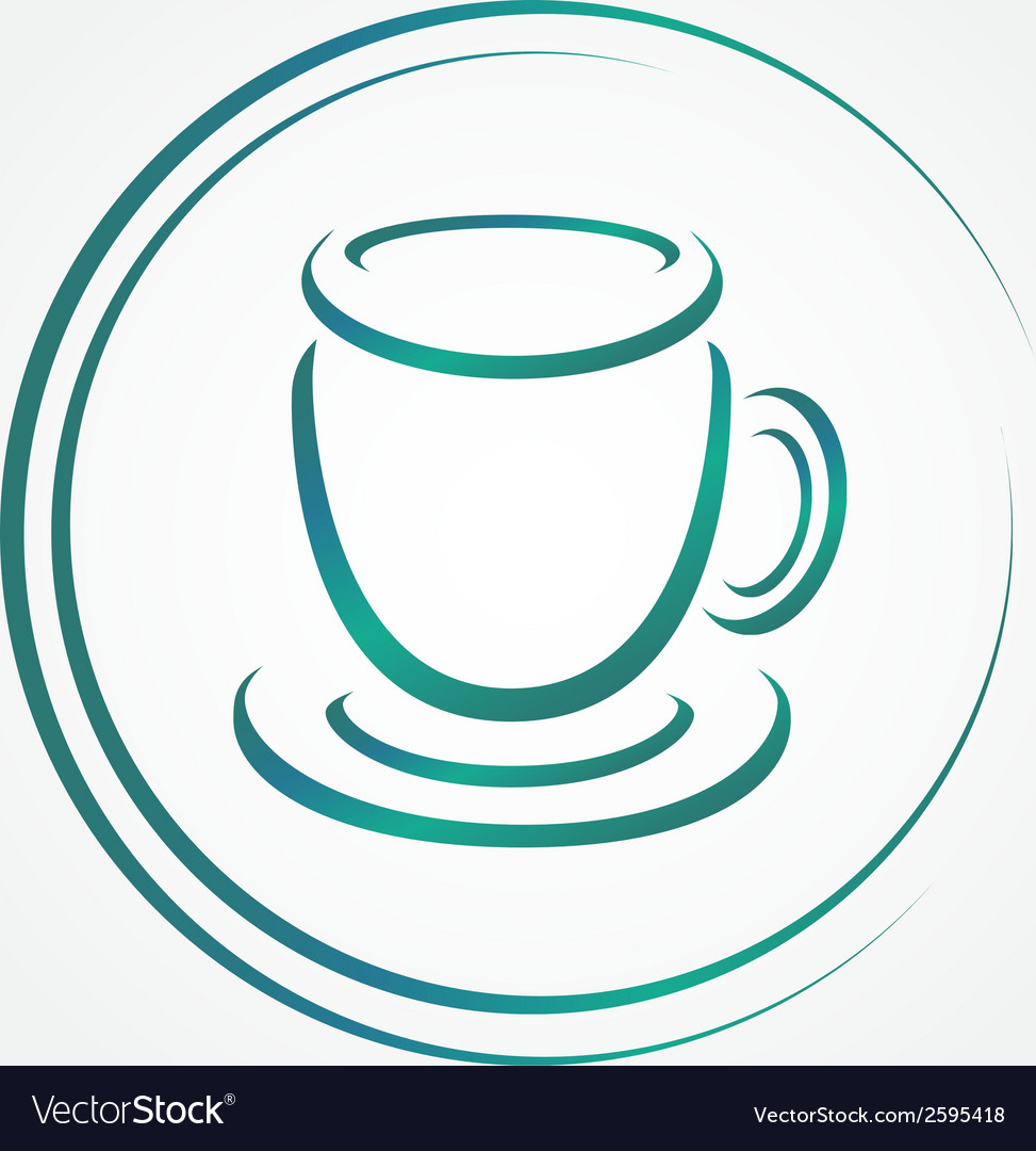 Icon of blue tea or coffee cup vector | Price: 1 Credit (USD $1)