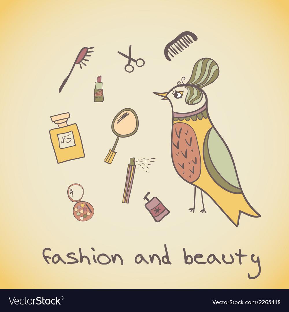 Makeup cosmetics and fashion beautiful bird vector | Price: 1 Credit (USD $1)