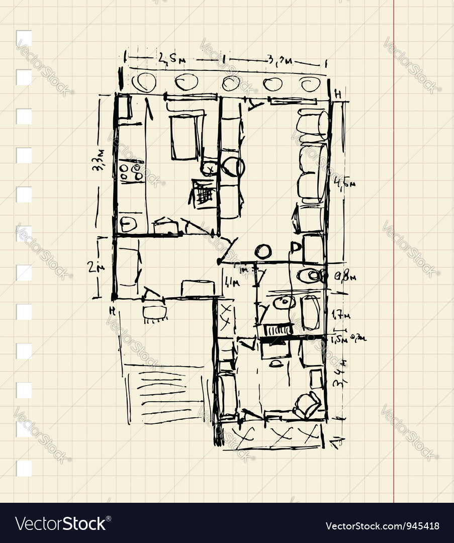 Redevelopment of apartment sketch vector | Price: 1 Credit (USD $1)