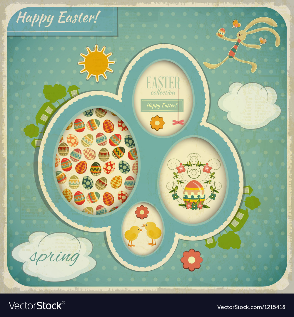 Retro vintage card with easter set vector | Price: 3 Credit (USD $3)