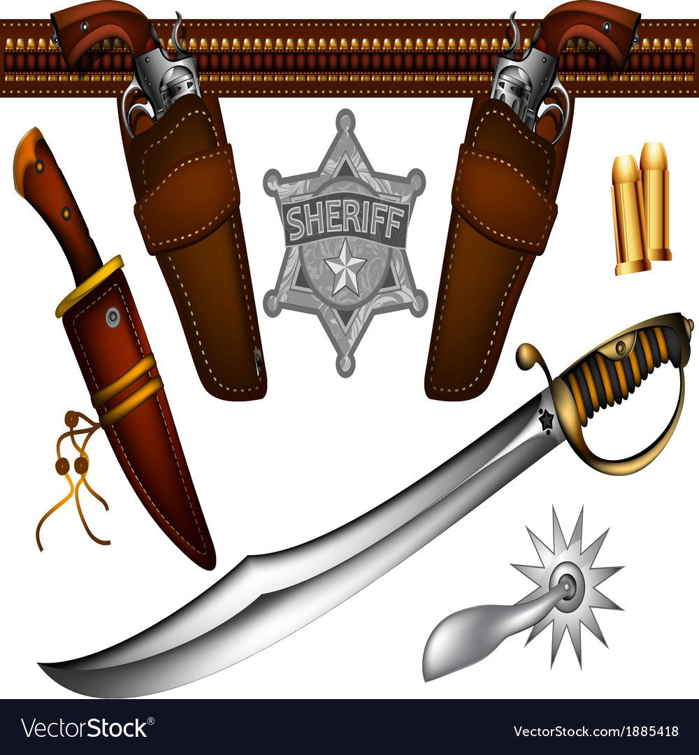 Set of sheriffs weapons and accessories vector | Price: 3 Credit (USD $3)