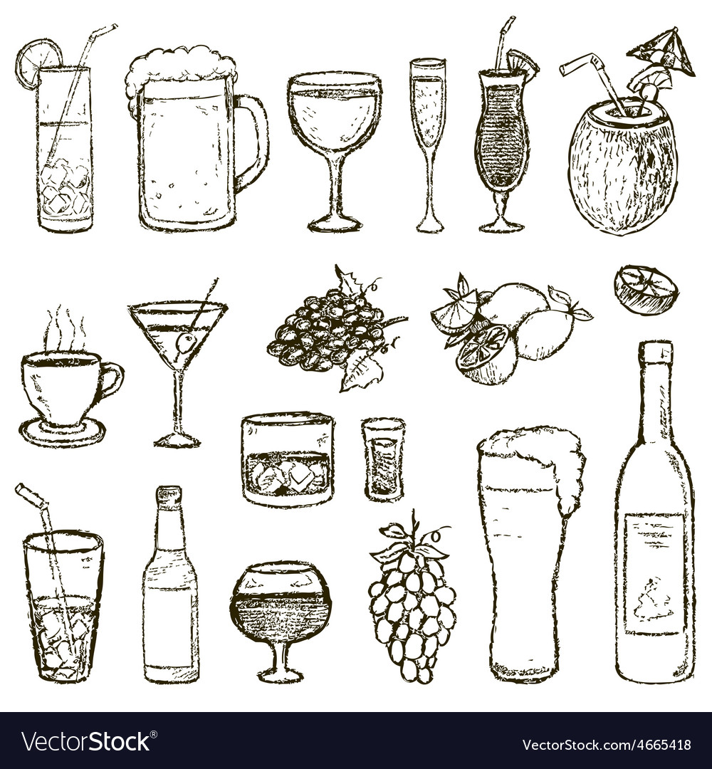 Set of sketch cocktails and alcohol drinks vector | Price: 1 Credit (USD $1)