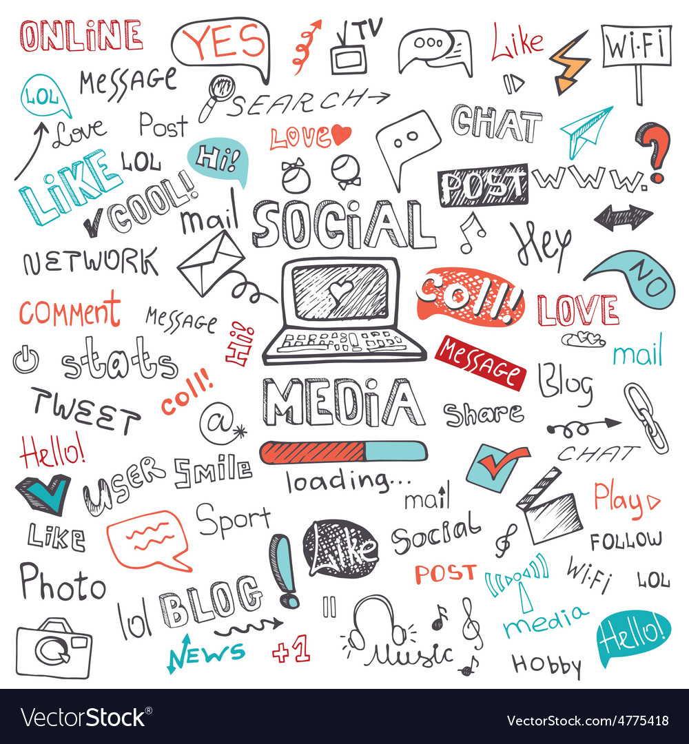 Social media word and icon clouddoodle sketchy vector | Price: 1 Credit (USD $1)