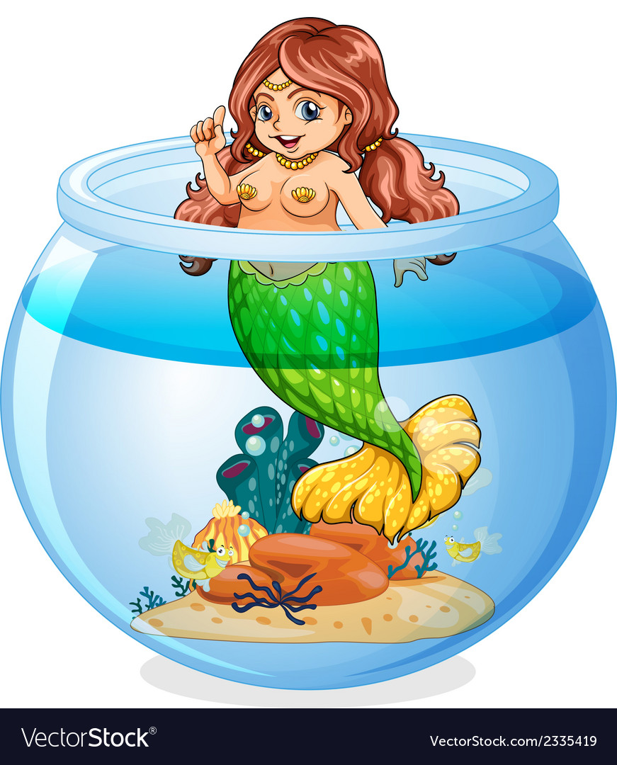 An aquarium with a mermaid vector | Price: 3 Credit (USD $3)