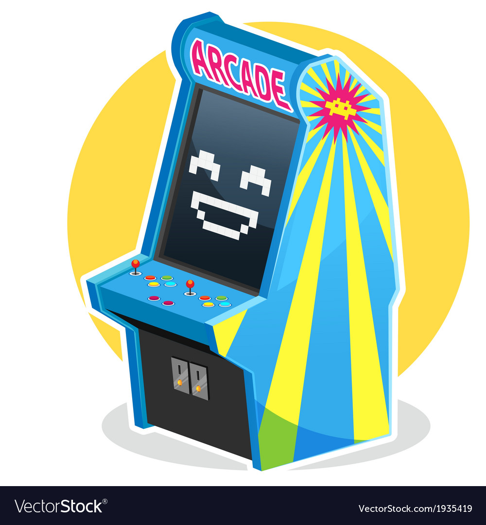 Blue vintage arcade machine game vector | Price: 1 Credit (USD $1)