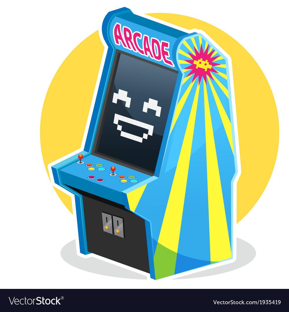 Blue vintage arcade machine game vector | Price: 1 Credit (USD $1)