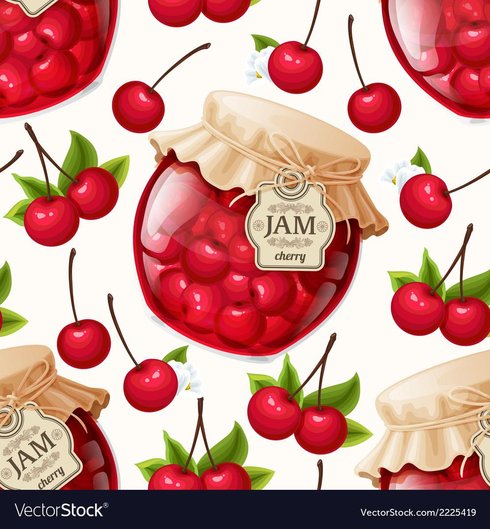 Cherry jam seamless pattern vector | Price: 1 Credit (USD $1)