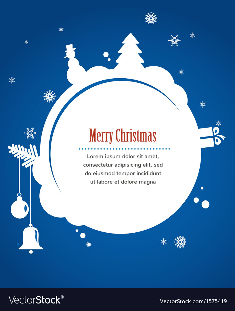 Christmas card with snowman present and christmas vector | Price: 1 Credit (USD $1)