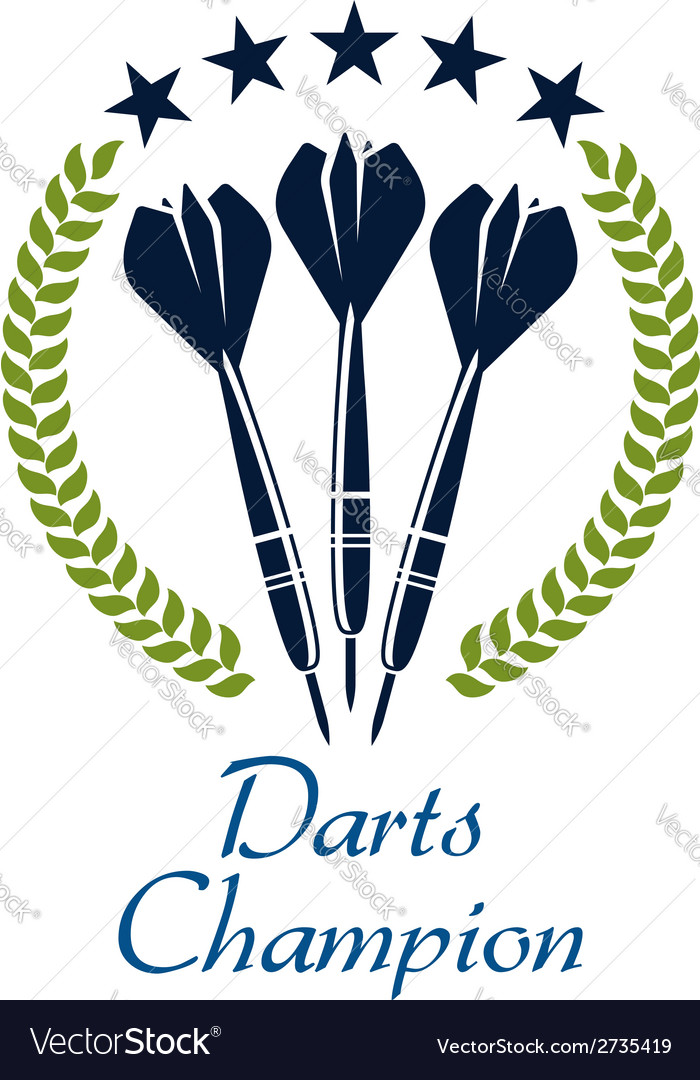 Darts shampion sporting emblem vector
