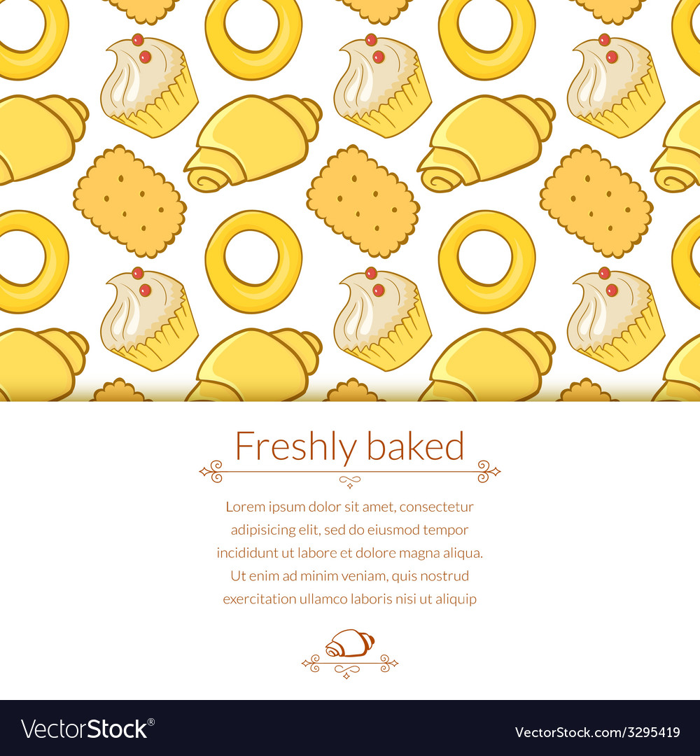 Delicious pastries in doodle style with place for vector   Price: 1 Credit (USD $1)