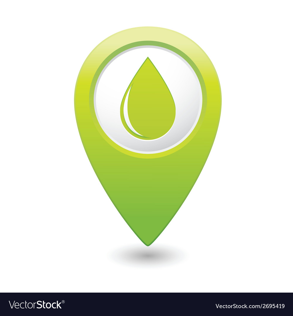 Drop icon green map pointer vector | Price: 1 Credit (USD $1)