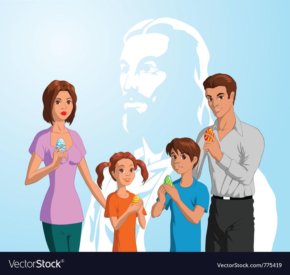 Family celebrating easter vector | Price: 5 Credit (USD $5)