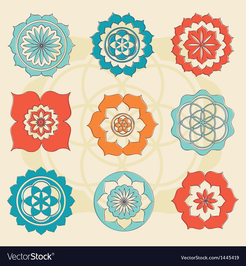 Magic lotus symbols vector | Price: 1 Credit (USD $1)