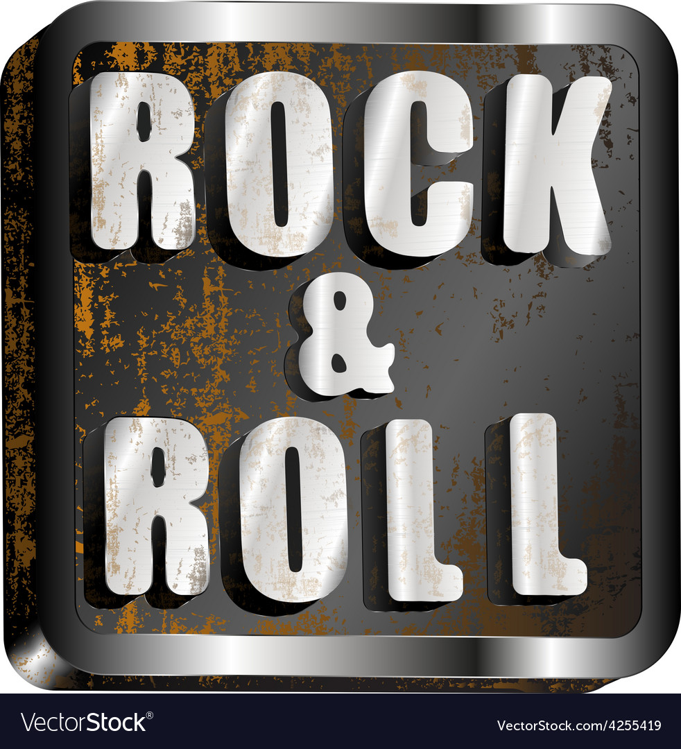 Rock and roll metal inscription vector | Price: 1 Credit (USD $1)