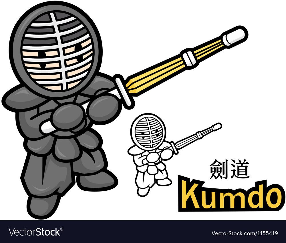 Swordsmanship exercise in boys mascot vector   Price: 1 Credit (USD $1)