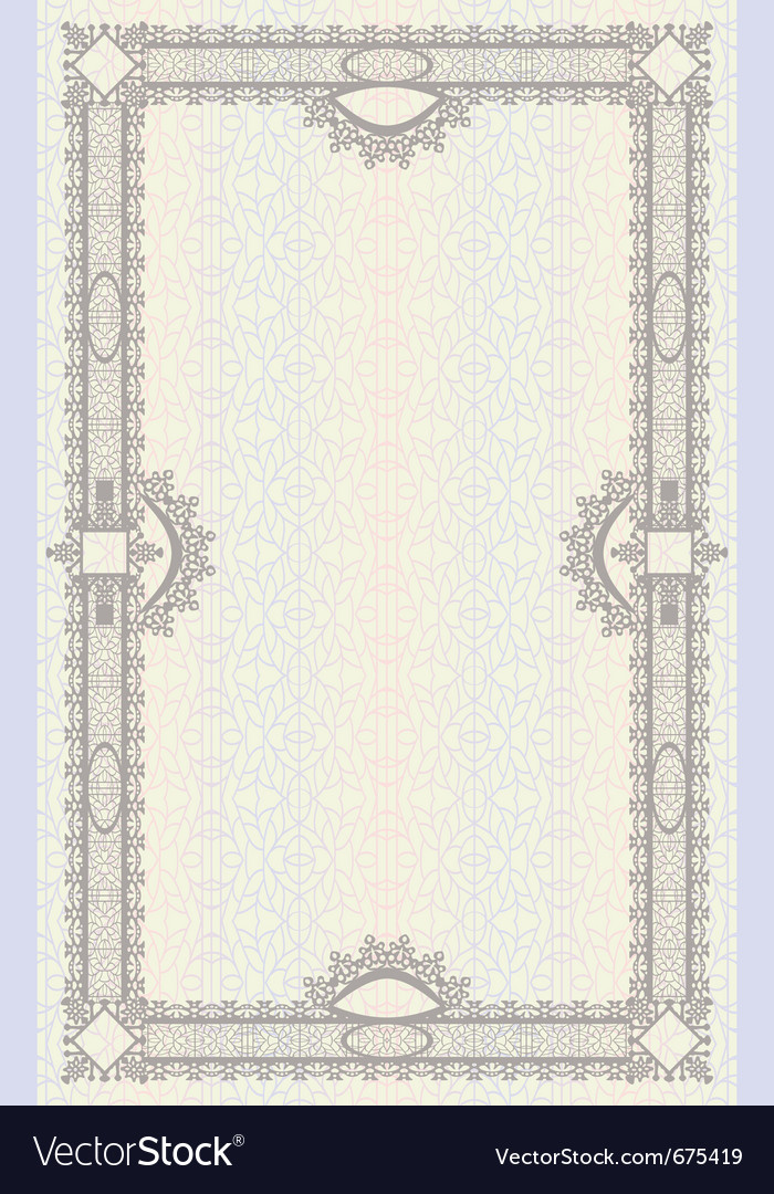 Vintage frame or diploma on seamless background vector | Price: 1 Credit (USD $1)