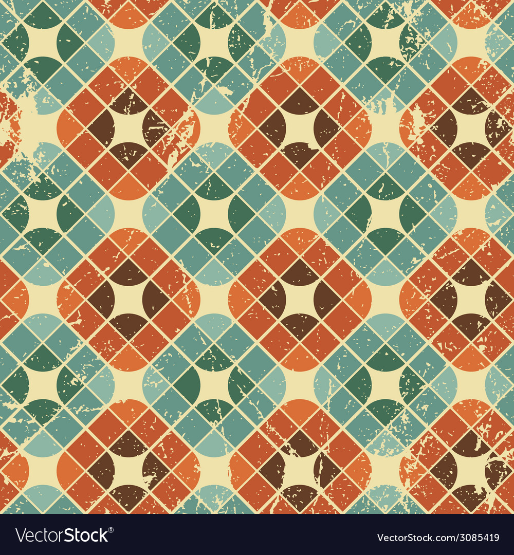 Vintage tiles with grunge texture seamless vector | Price: 1 Credit (USD $1)