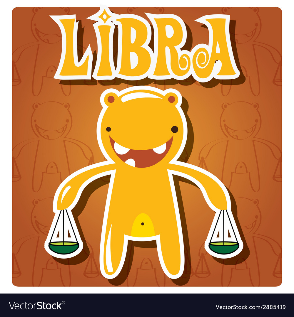 Zodiac sign libra with cute colorful monster vector | Price: 1 Credit (USD $1)