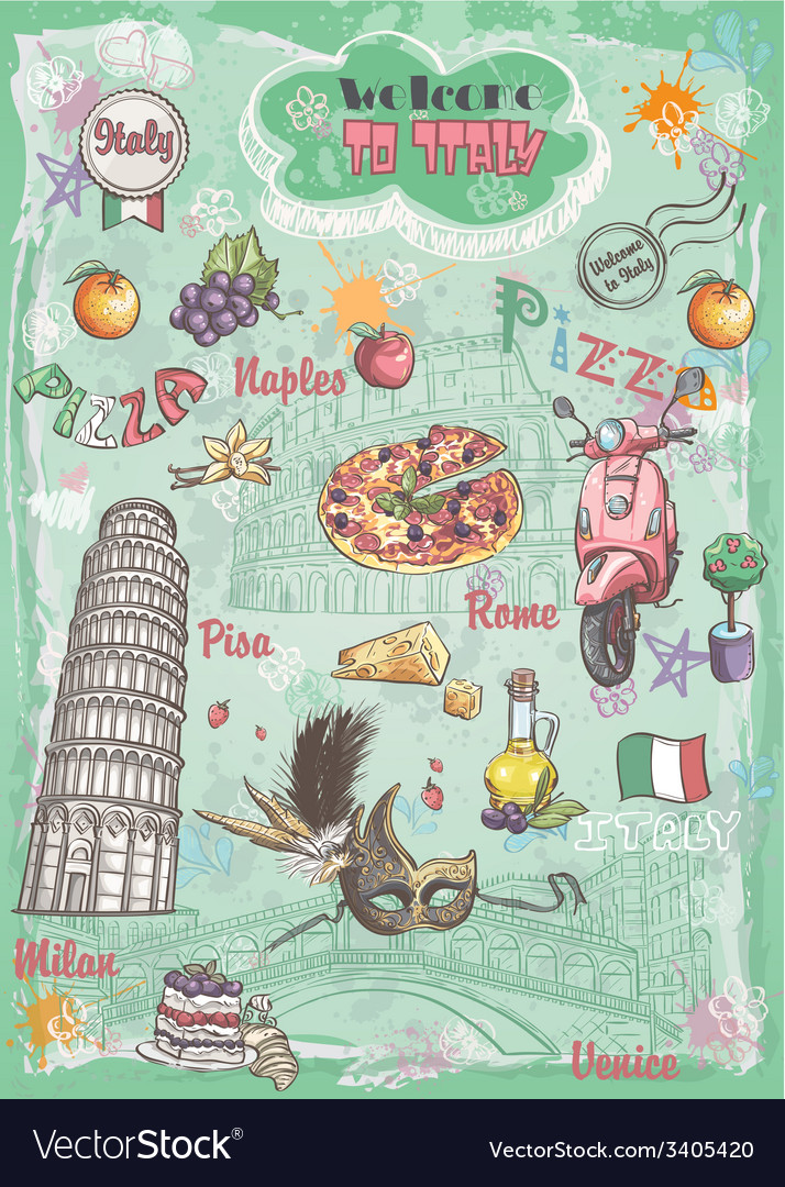 A set of sights in italy architecture food vector | Price: 1 Credit (USD $1)