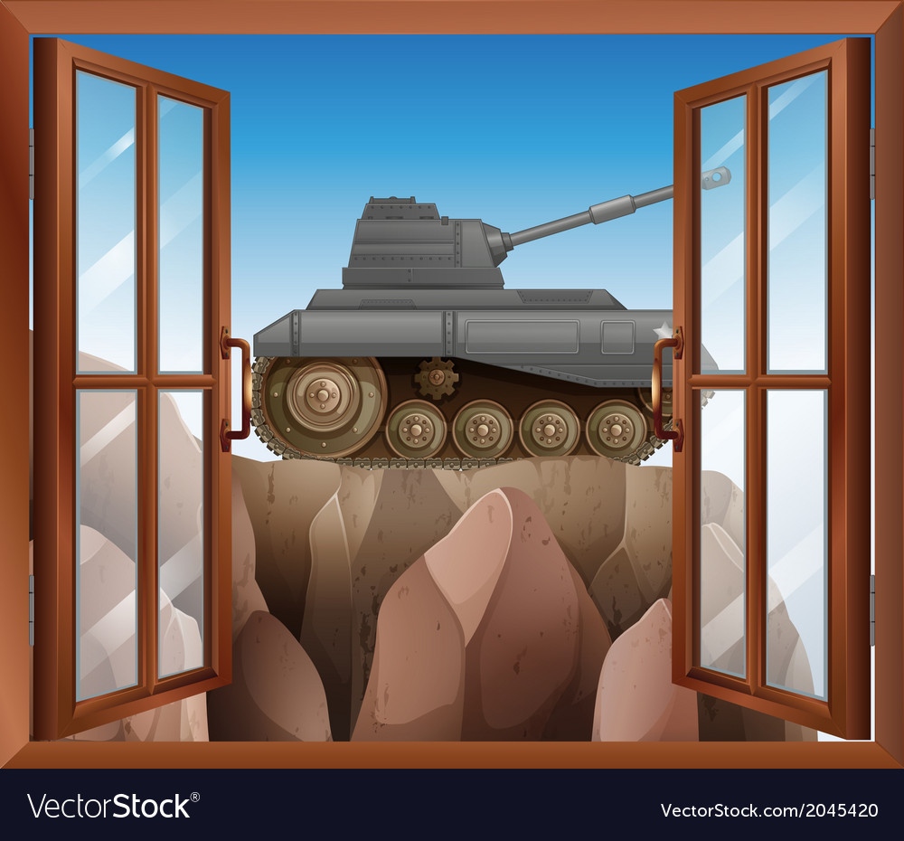 An open window with a view of the armoured tank vector | Price: 1 Credit (USD $1)