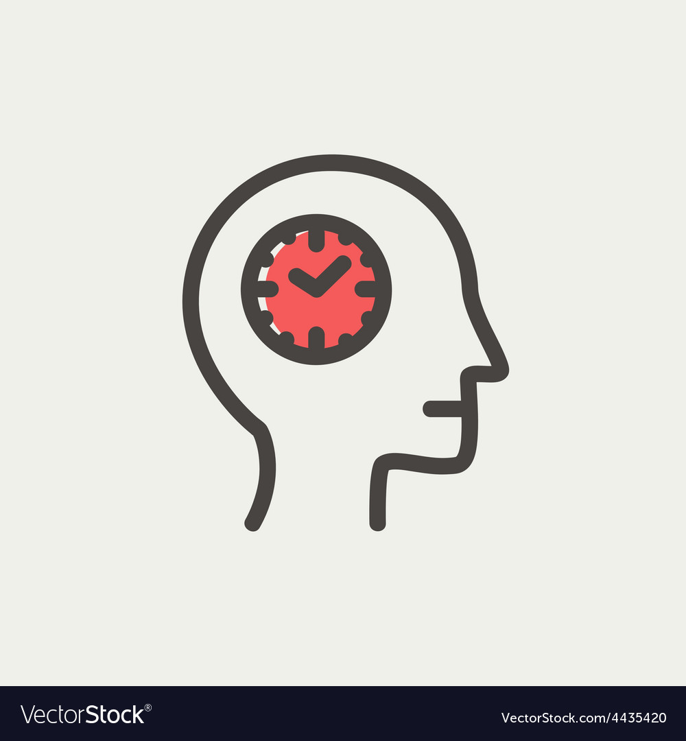 Clocks in head thin line icon vector | Price: 1 Credit (USD $1)
