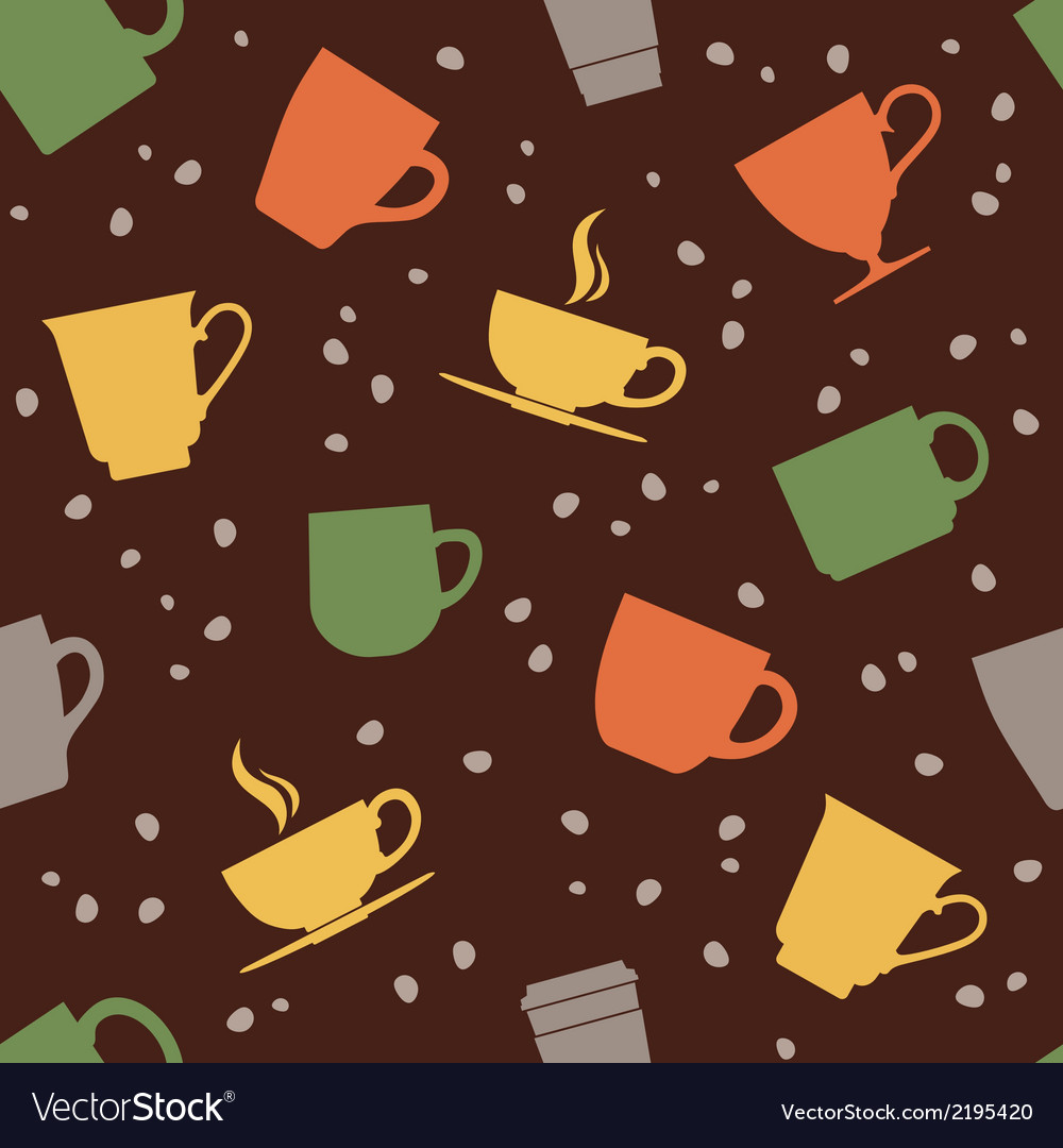 Colorful teacups seamless pattern vector | Price: 1 Credit (USD $1)