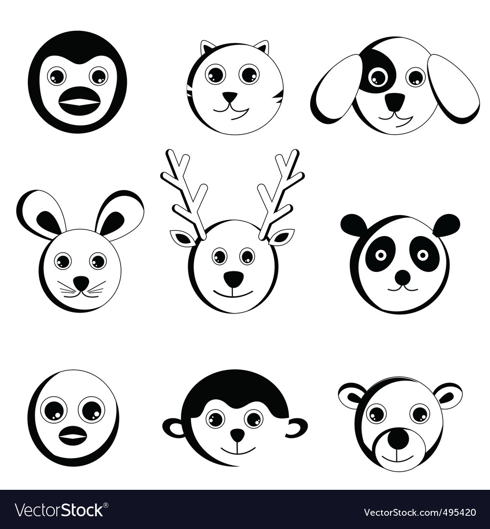 Cute animal faces vector | Price: 1 Credit (USD $1)