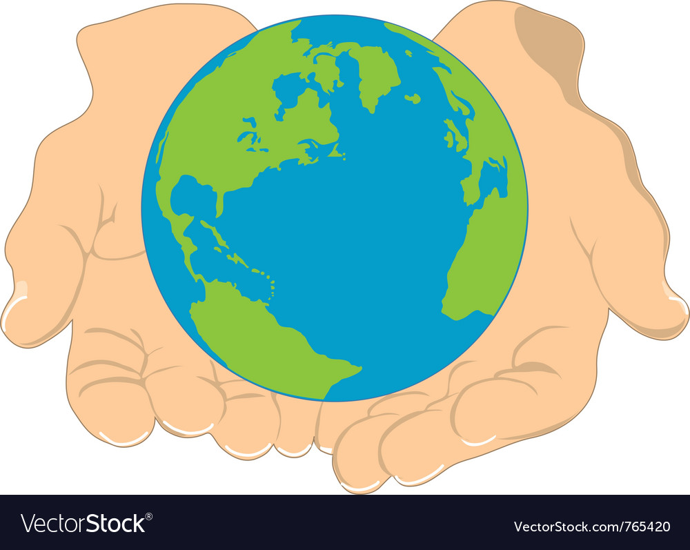 Earth in hands vector | Price: 1 Credit (USD $1)
