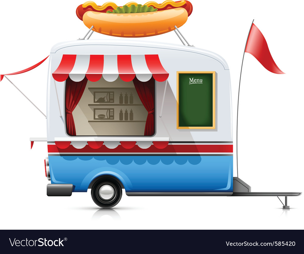 Fast food hot dog trailer vector | Price: 3 Credit (USD $3)