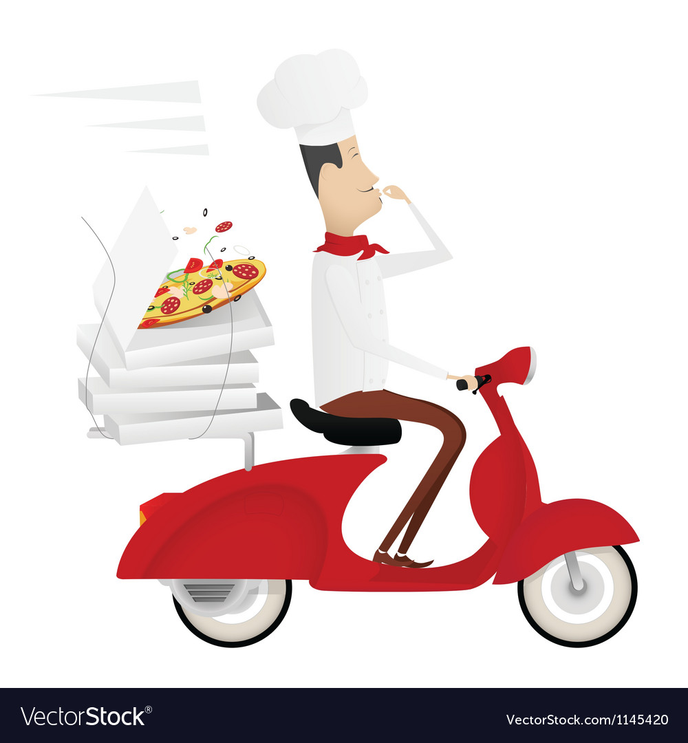 Funny italian chef delivering pizza on red moped vector | Price: 1 Credit (USD $1)