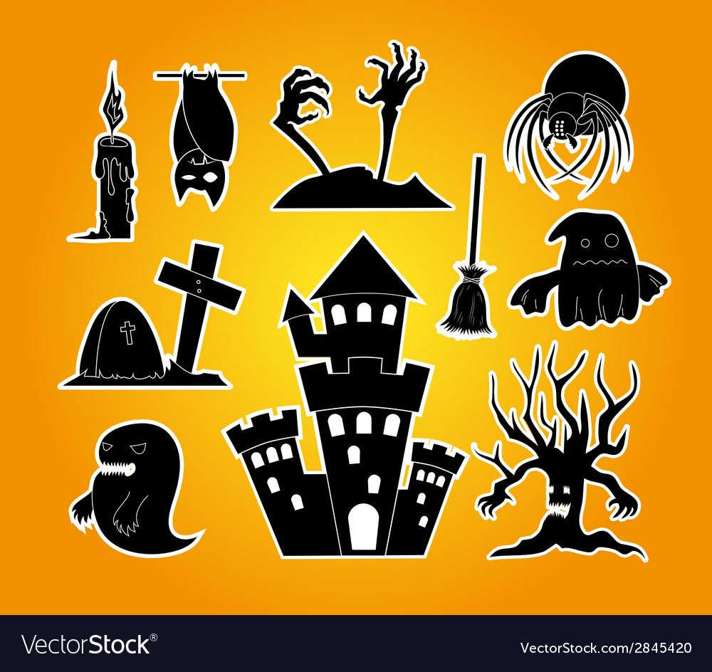 Halloween set - black and white vector | Price: 1 Credit (USD $1)
