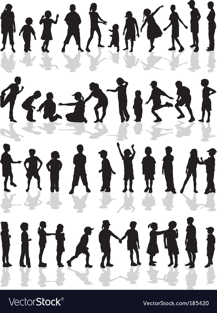 Kids silhouettes vector | Price: 1 Credit (USD $1)