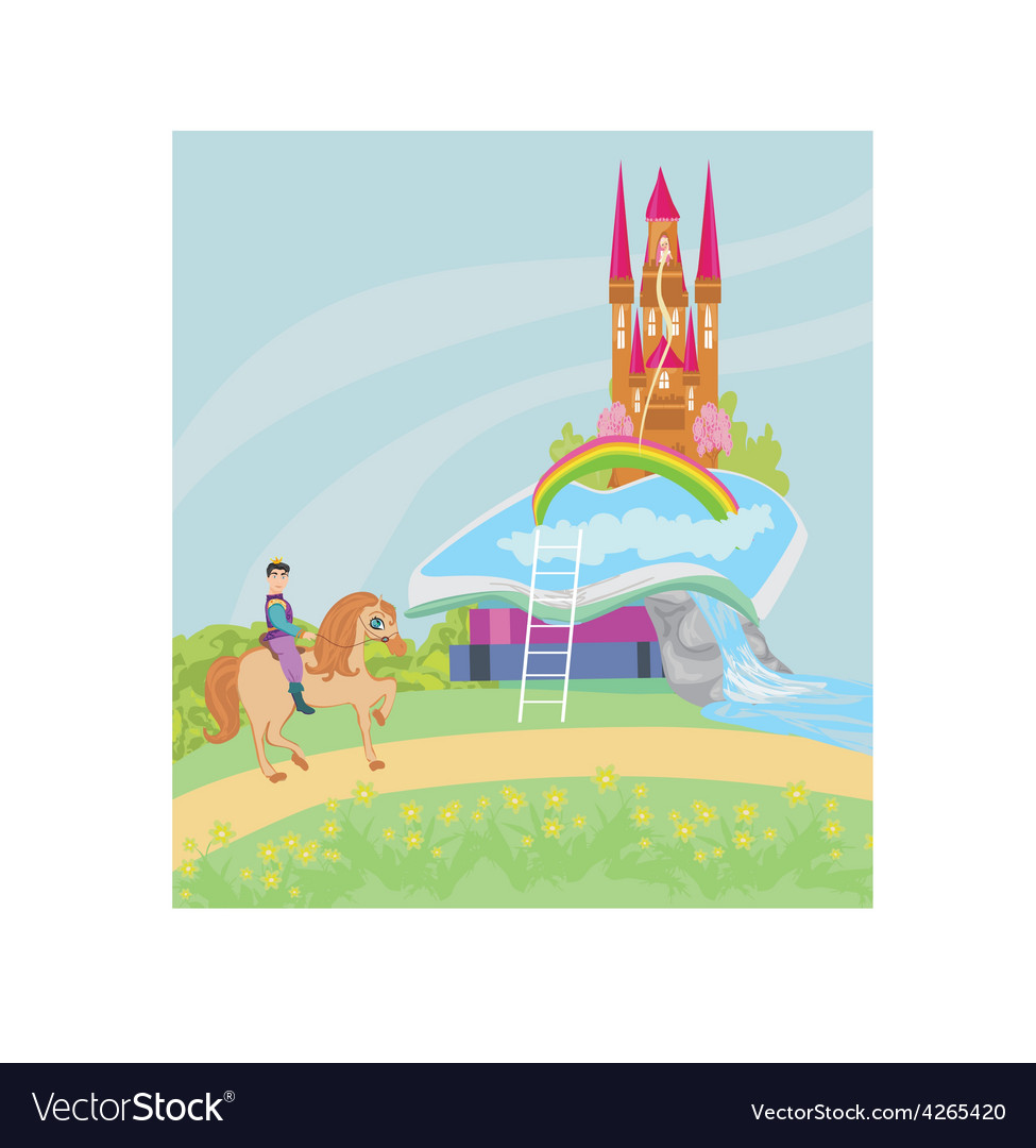 Open book - prince riding a horse vector | Price: 1 Credit (USD $1)
