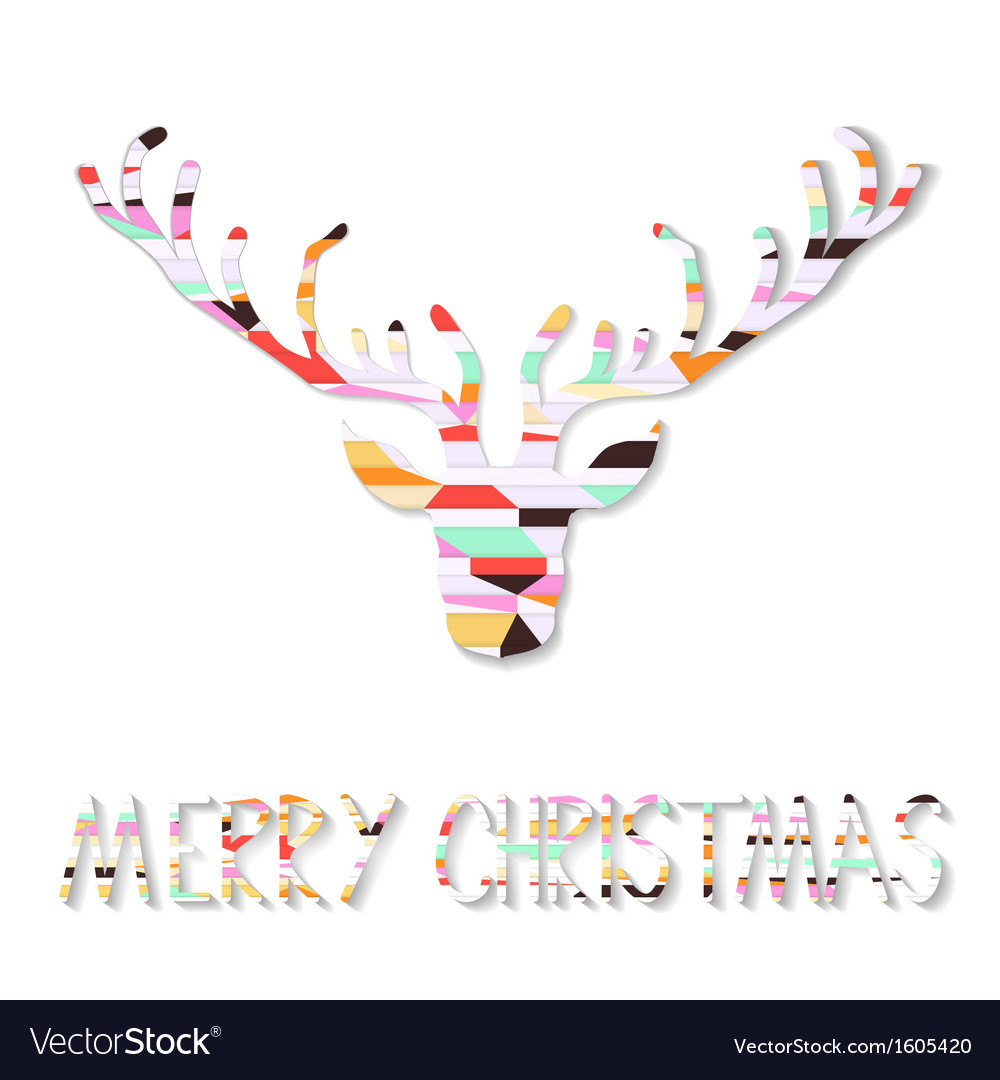 Reindeer christmas card vector | Price: 1 Credit (USD $1)