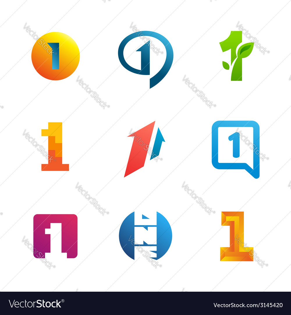Set of number one 1 logo icon design template vector | Price: 1 Credit (USD $1)
