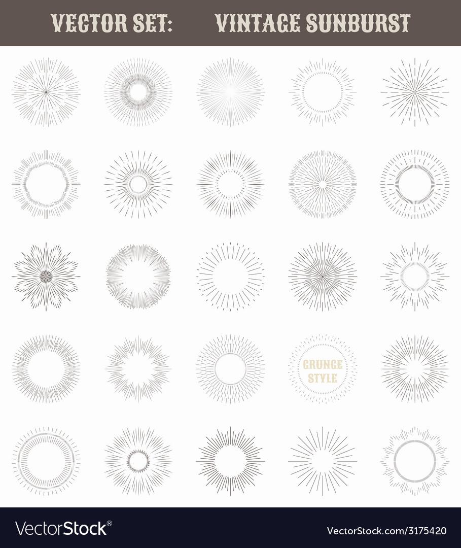 Set of vintage sunburst geometric shapes and light vector | Price: 1 Credit (USD $1)