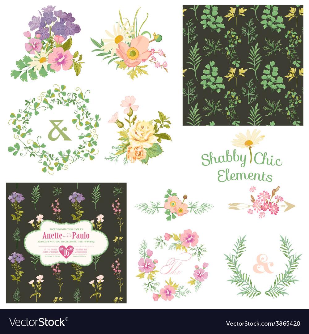 Vintage floral set - frames ribbons backgrounds vector | Price: 1 Credit (USD $1)