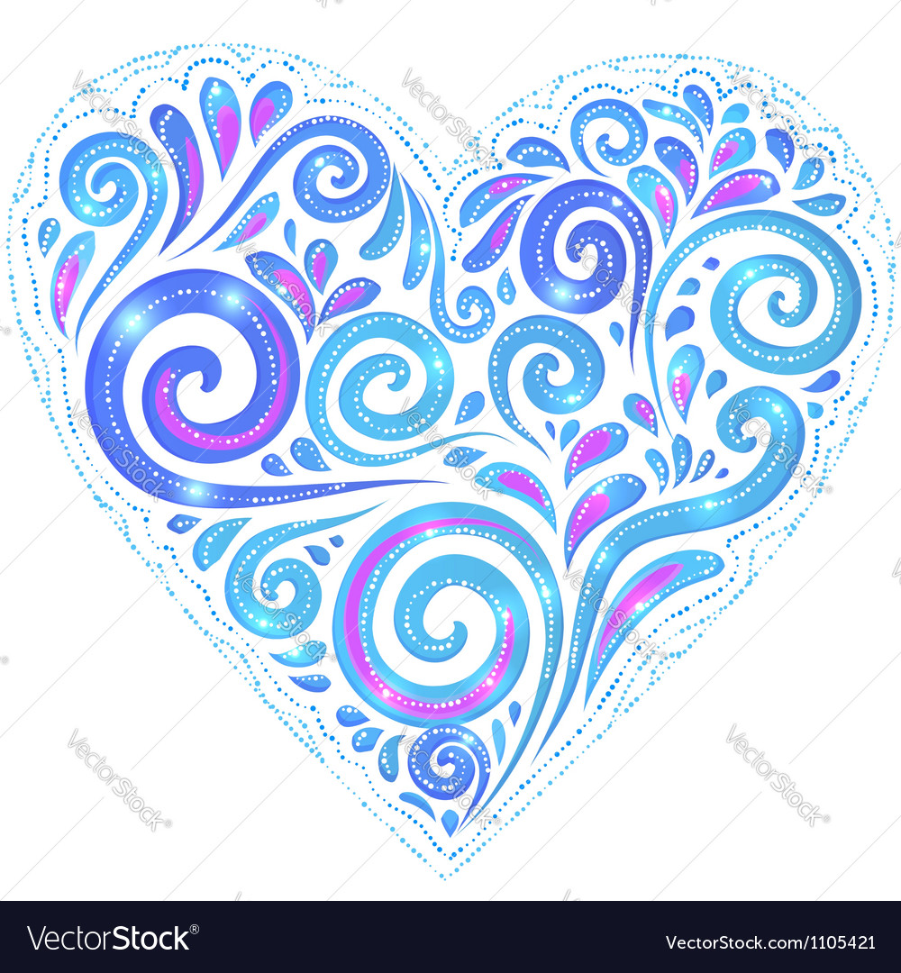 Blue shining heart on dark-blue background vector | Price: 1 Credit (USD $1)