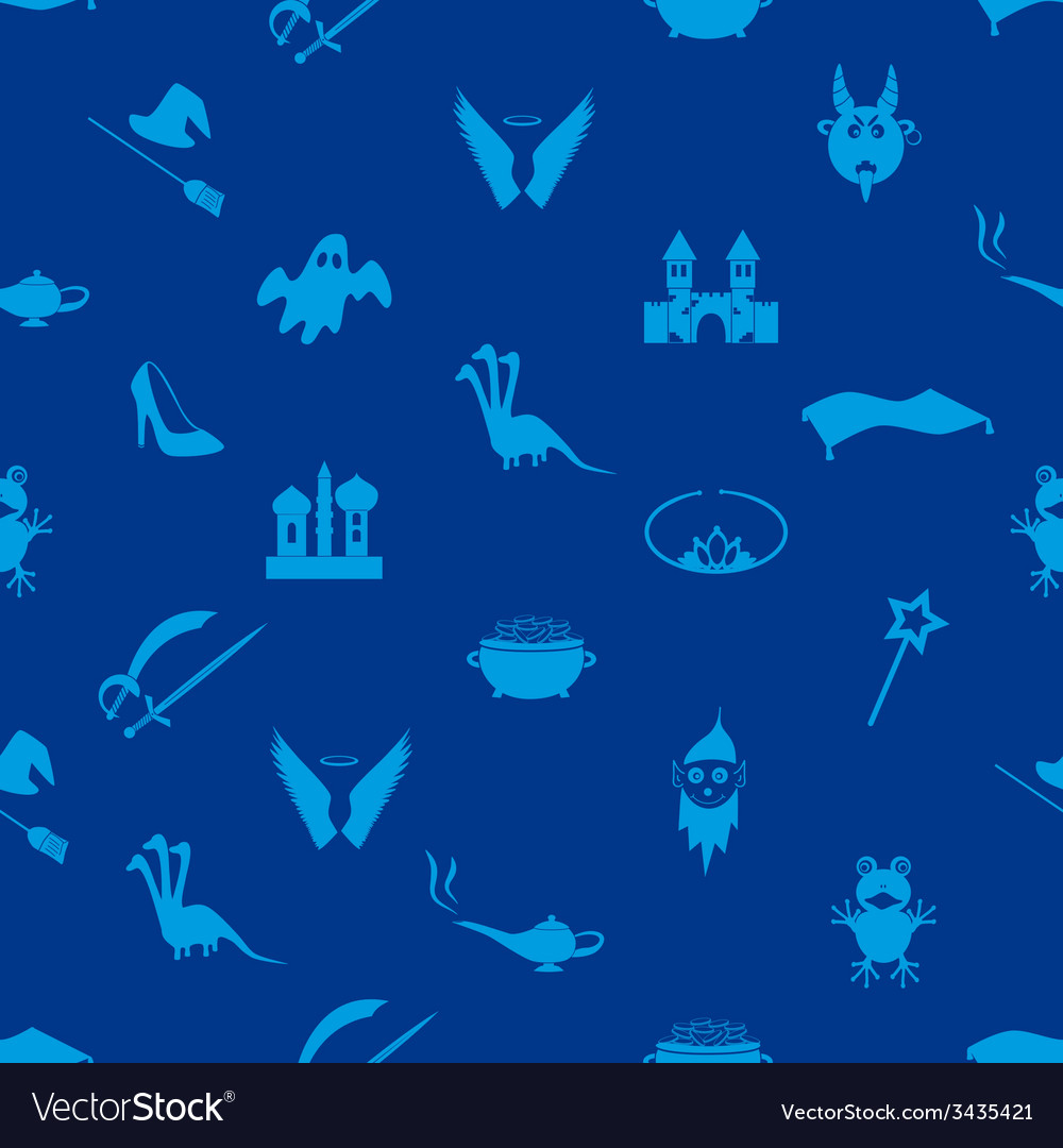 Blue simple fairy tales theme seamless pattern vector | Price: 1 Credit (USD $1)