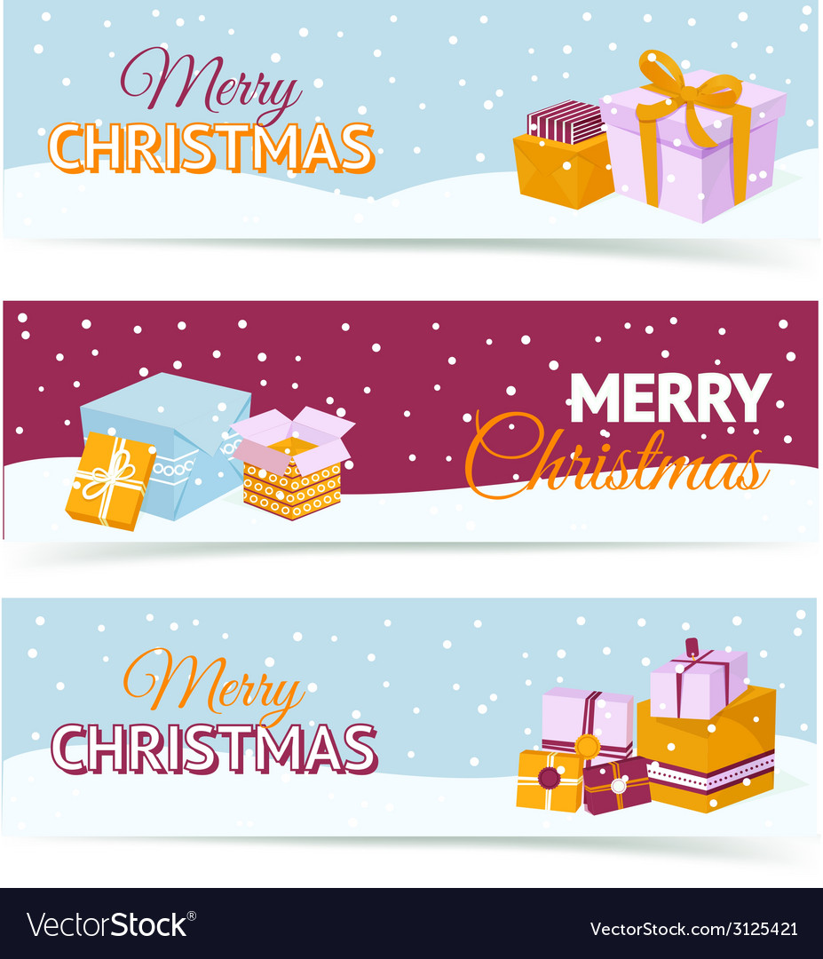 Christmas gift box banners vector | Price: 1 Credit (USD $1)