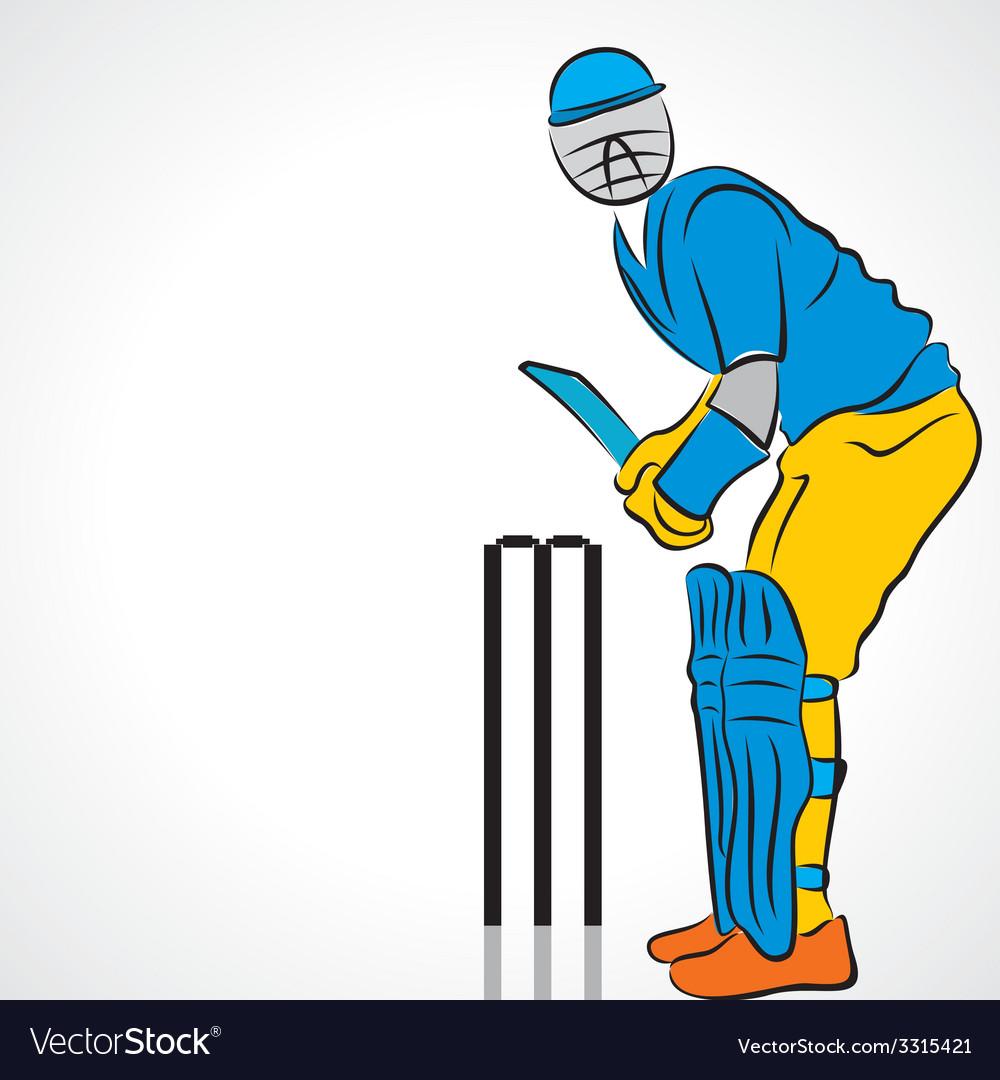 Cricket player vector | Price: 1 Credit (USD $1)