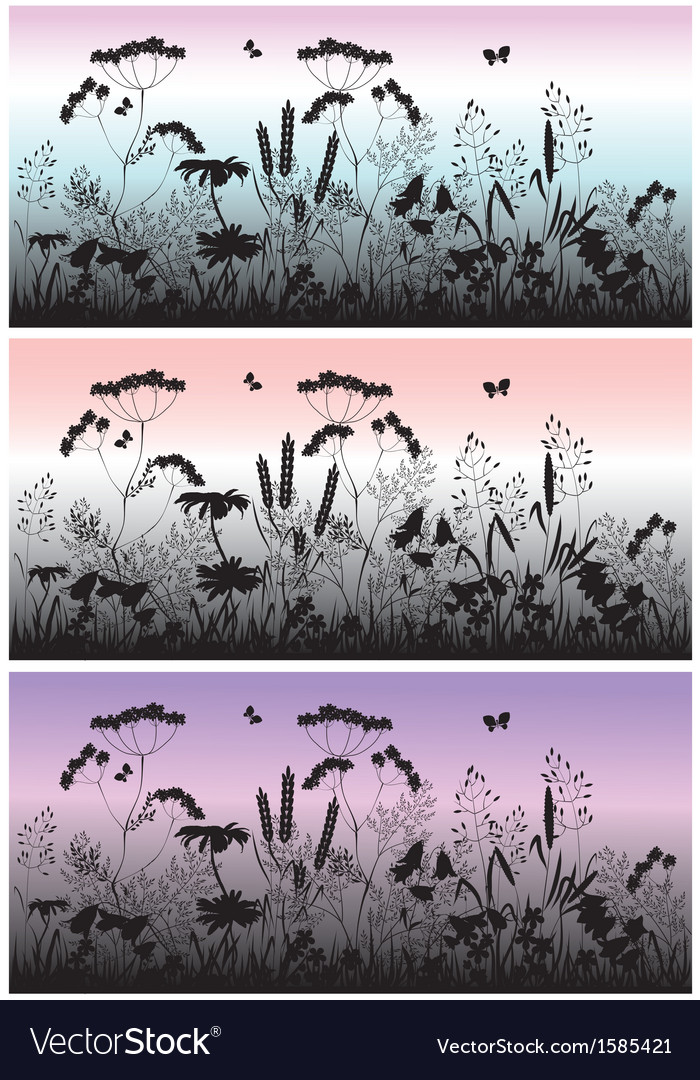 Meadow flowers grass and butterfly at dawn vector | Price: 1 Credit (USD $1)