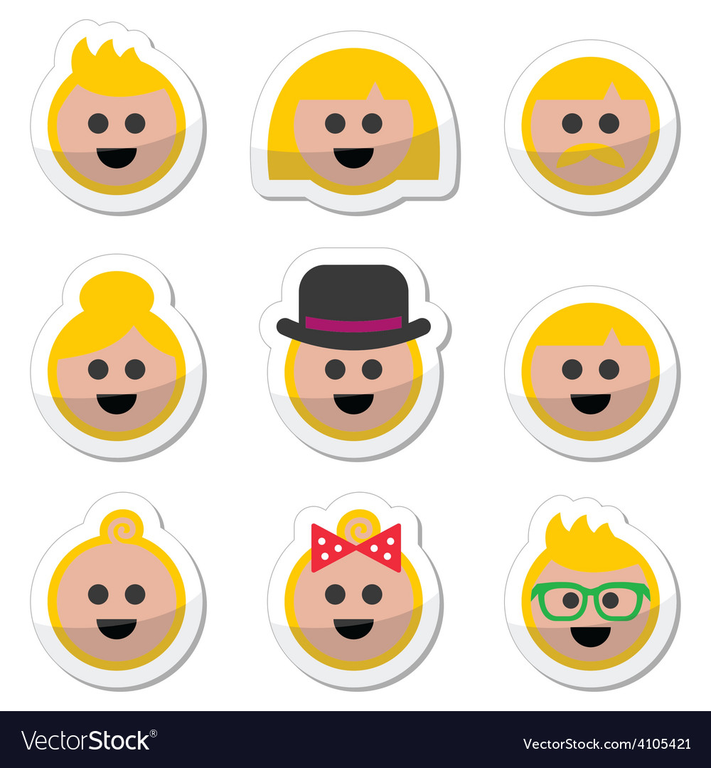 People with blond hair icons set vector | Price: 1 Credit (USD $1)