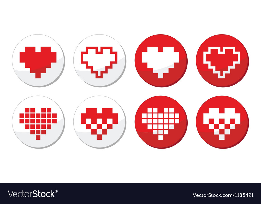 Pixeleted red heart icons set - love dating onlin vector | Price: 1 Credit (USD $1)