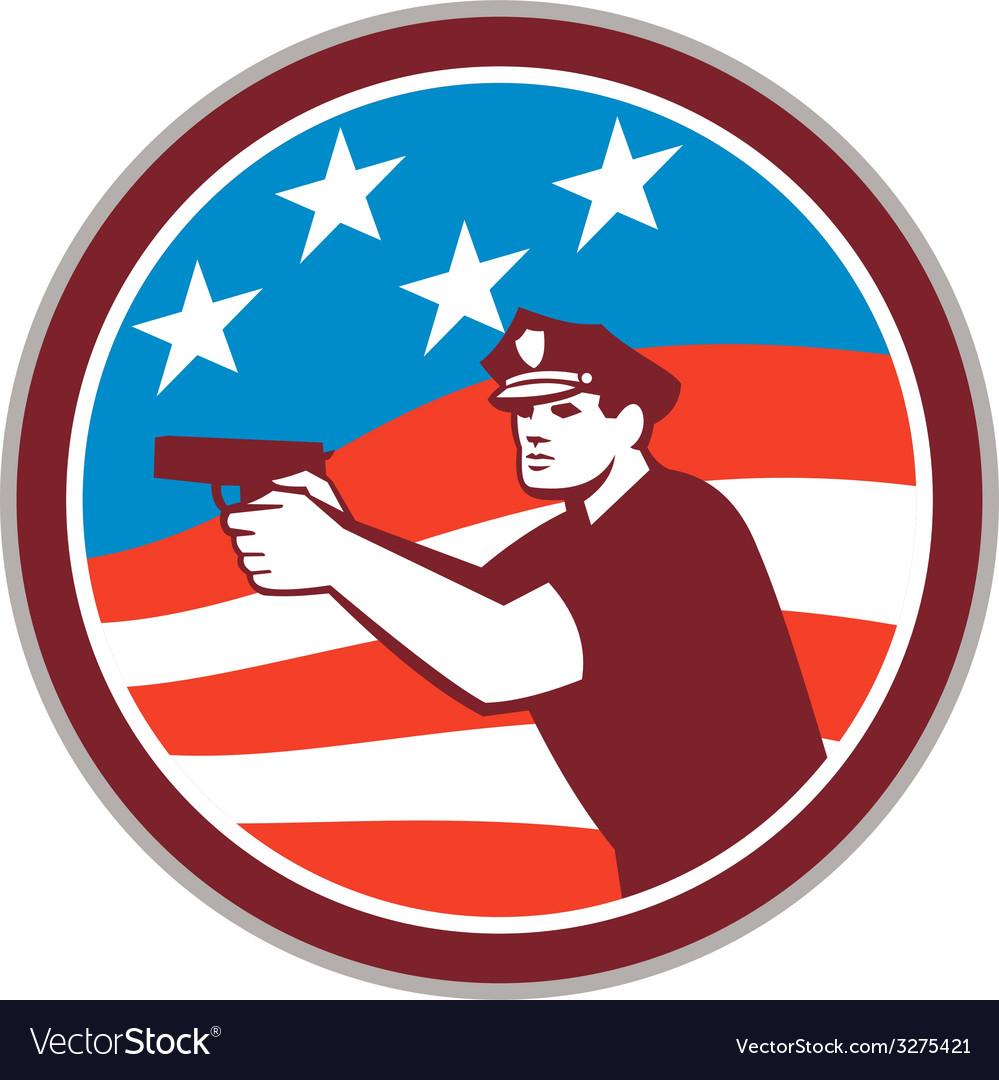 Policeman with gun american flag circle retro vector | Price: 1 Credit (USD $1)