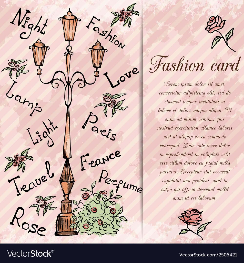 Retro hand drawn design card vector | Price: 1 Credit (USD $1)