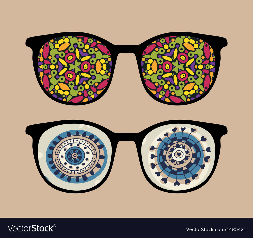 Retro sunglasses with strange reflection in it vector | Price: 1 Credit (USD $1)