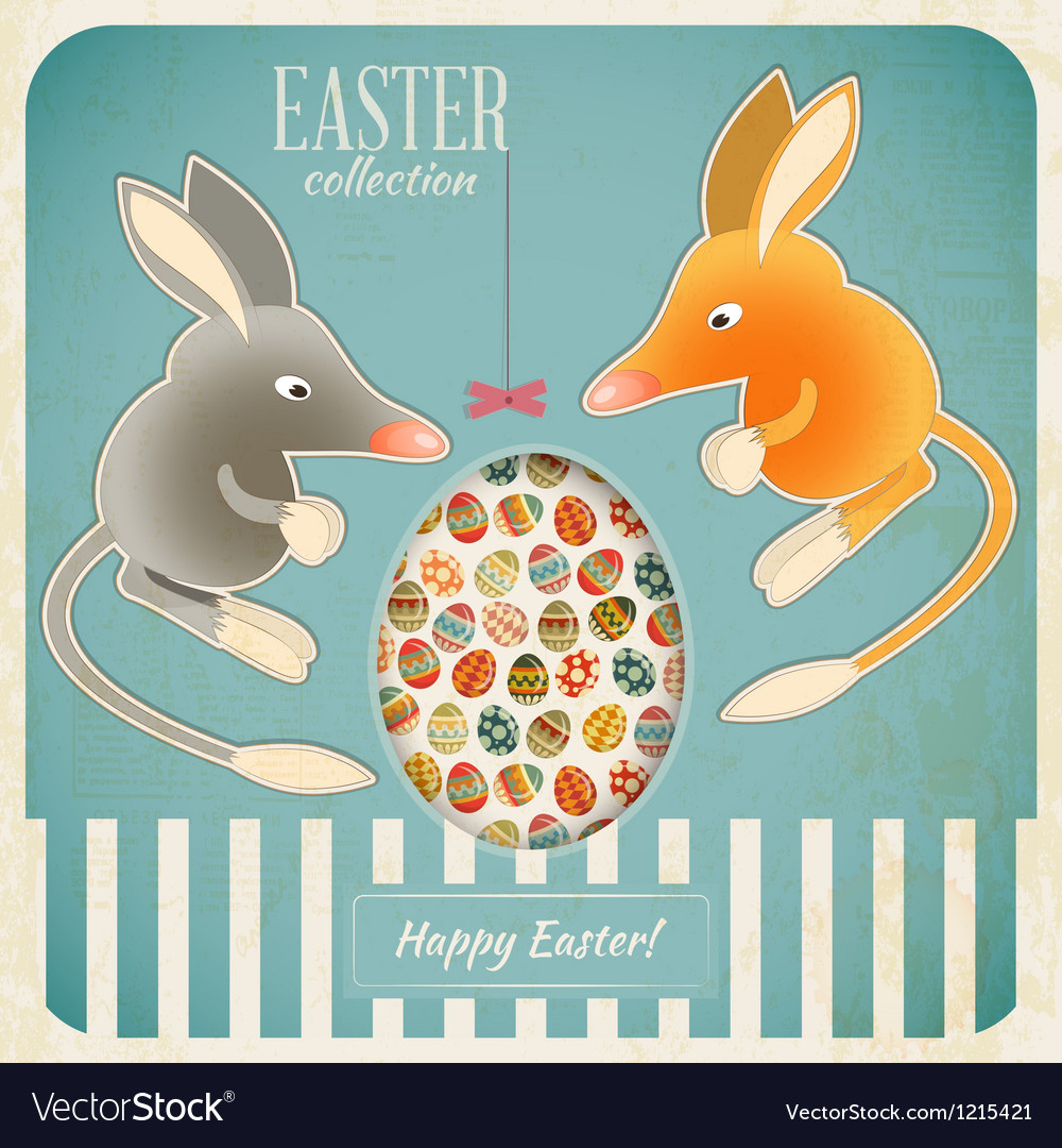 Retro vintage card with easter australian bilby vector | Price: 3 Credit (USD $3)