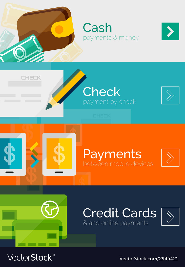 Set of flat design concepts payment online vector | Price: 1 Credit (USD $1)